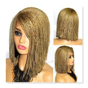 Blond  braided wig , bob style , short lace front,
